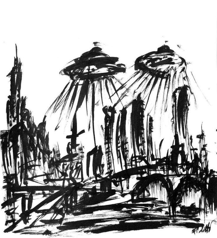 Design by Federico Poletti  #sketch #blackink #alien #ufo #city