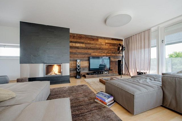 Nussberg Penthouse, Vienna :: love the fire place