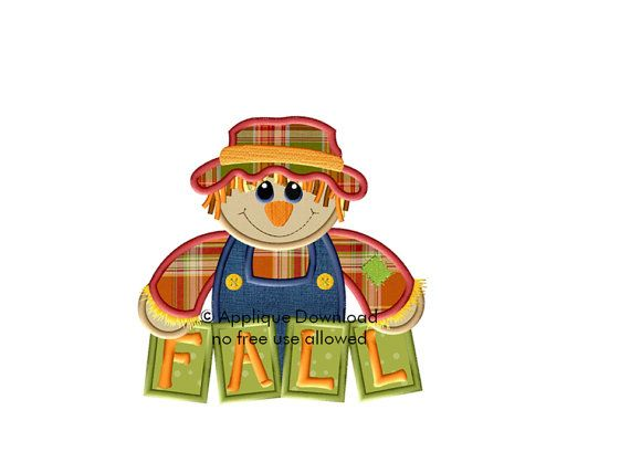 Scarecrow for Fall Applique Design - Instant EMAIL With Download - 3 sizes - for Embroidery Machines