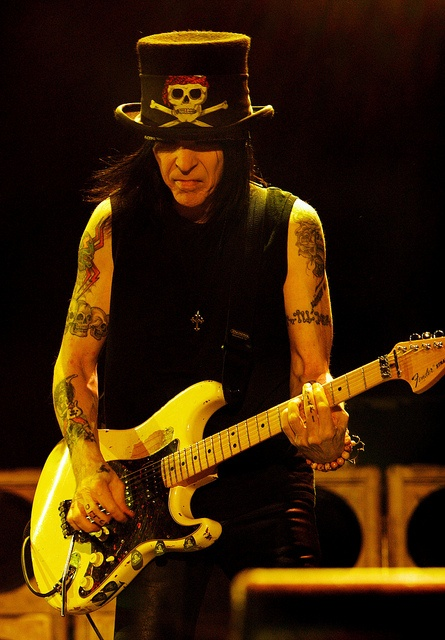 Mick Mars of Motley Crue. He's very influential to me since we have similar health problems. I can't even tell you how inspiring he is to me for this reason.