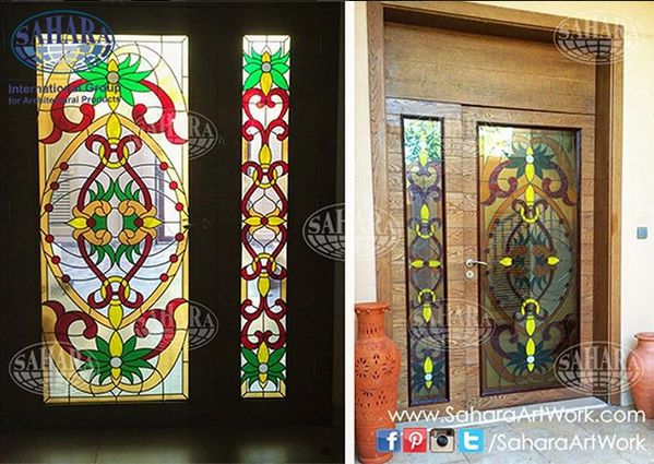 The inside and outside view of one of our beautiful sets of stained glass door inserts designed and installed by our talented team. & The 33 best Stained Glass Doors images on Pinterest | Glass doors ...