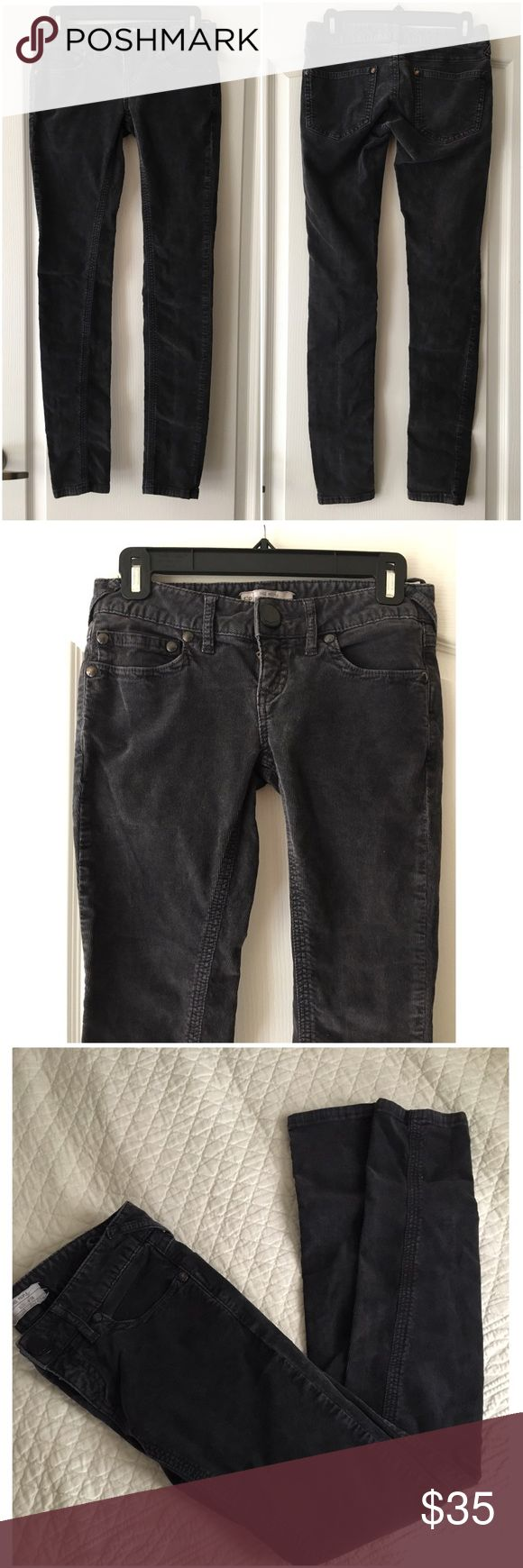 Free People Skinny Grey Stretch Cord pants Jeans Free People   Sz 26  In good used condition  Dark grey, Stretchy corduroy jeans. Free People Jeans Skinny