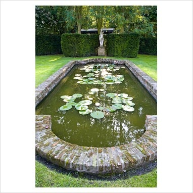 formal pond with brick/ stone coping