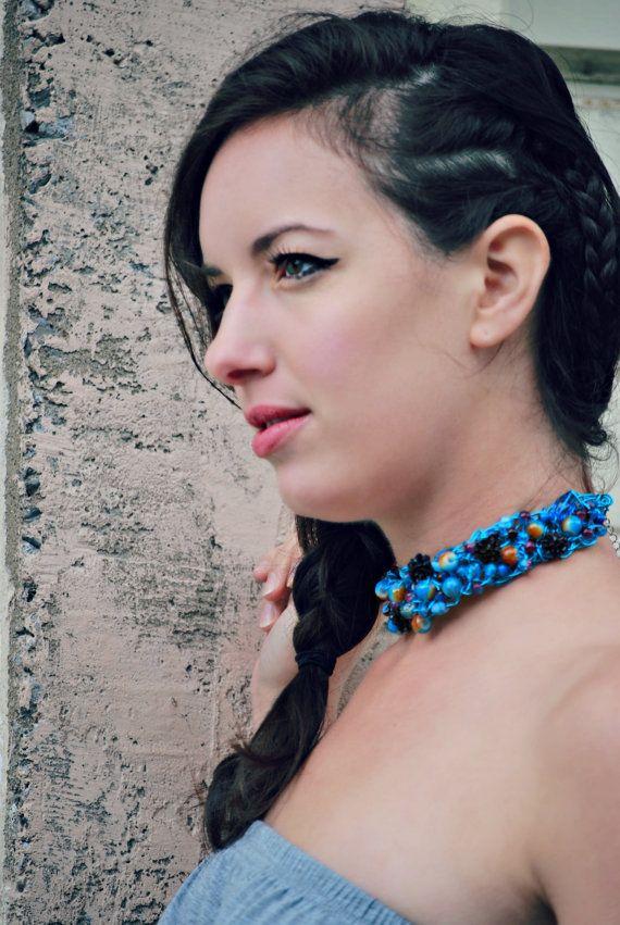 Collier de fil de cuivre aqua fait de perles de par BoutiqueAnnik