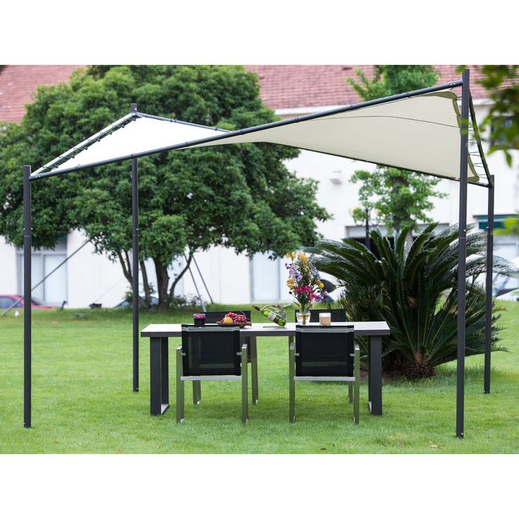 Stand this 12x12 canopy in your backyard to protect your event's guests from the sun or other harsh weather. The ecru polyester canopy is held up by corrosion-resistant poles and a power-coated steel frame.