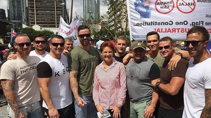 """A few weeks ago Reclaim Australia protesters organised number of Australia-wide protests opposing """"sharia law, halal tax and Islamisation"""".  One Nation leader Pauline Hanson made an appearance at a Reclaim rally in Brisbane on April 4, when the eight men had their photo taken with the politician.  https://twitter.com/NeilVenketramen"""