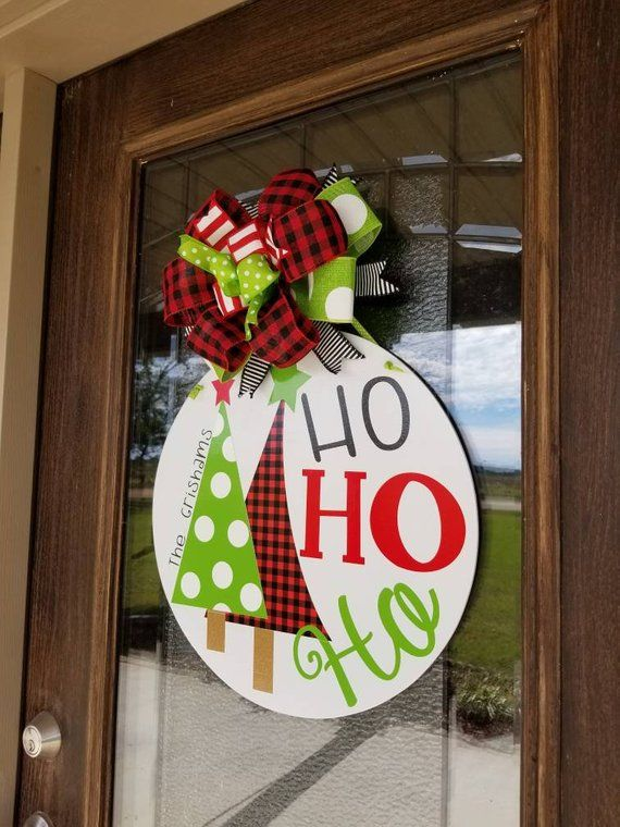 Monogrammed Whimsical Christmas Door Hanger Ho Ho Ho Door Etsy Christmas Door Hanger Christmas Door Decorations Whimsical Christmas Decor