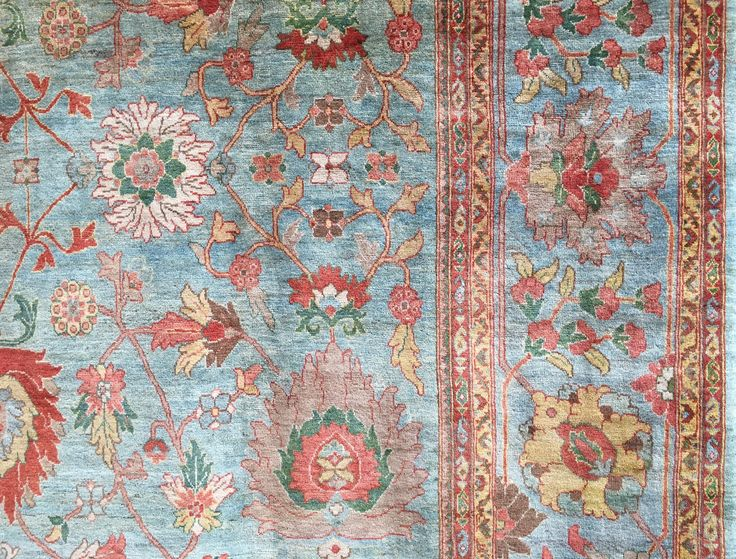 Soft duck egg blue and terracotta are classic dyes used in this fine Persian Mahal carpet. www.orientalrugexperts.com