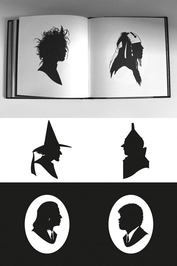Silhuetas de Edward Mãos de Tesoura, Jack Sparrow, Mágico de Oz e Pulp Fiction