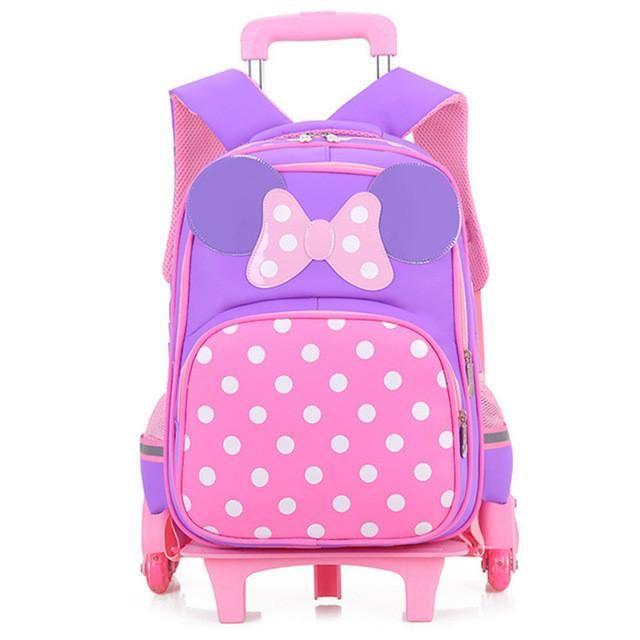 Girls Bow Trolley School Bags Cartoon Transformer Trolley School Bag Children Transformer Rolling Backpack for Kids Schoolbags