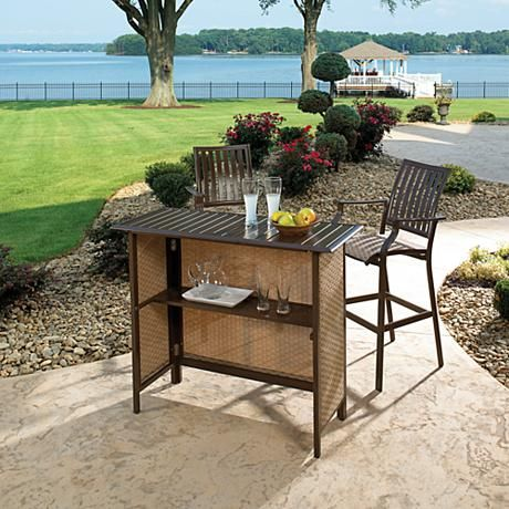 Saving this as it would look so cute on our upper patio. Panama Jack Island Breeze 3-Piece Outdoor Patio Bar Set