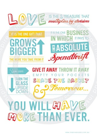 Inspirational quotes to live by  'love is' poster by www.inspiredroad.com