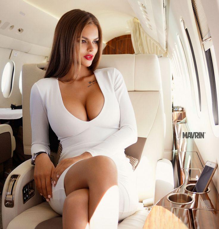 People 1914x2000 women sitting white dress looking away tattoo Aleksandr Mavrin cleavage airplane big boobs Viki Odintcova