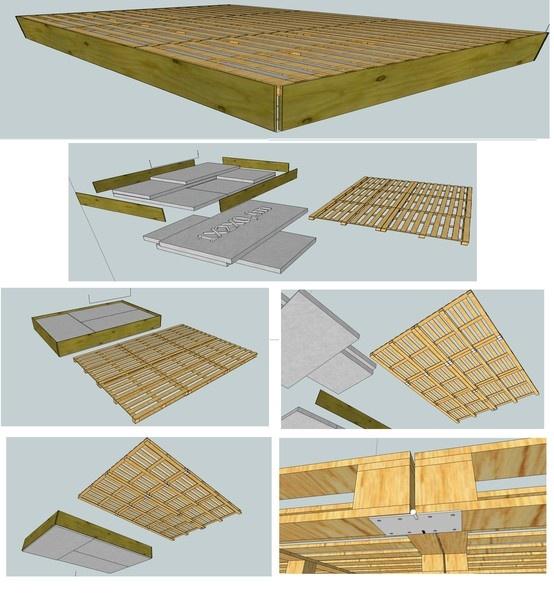 6 paletten, 9 stevige scharnieren, 31 houtschroeven, 4 planken (300x35x1 en 405x35x1), 9 stukken isomo van 100x200x10.  Het geheel is samen te houden met touw of zelfspanners.