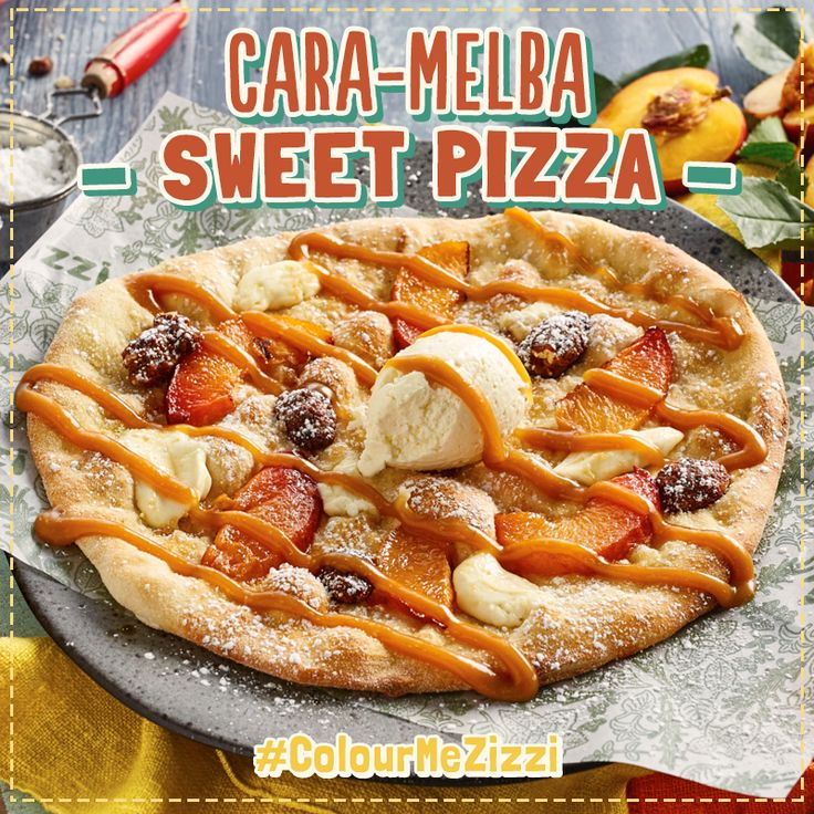 Cara-Melba Sweet Pizza baked sugared dough with roast nectarines, caramelised pecans & mascarpone. Once baked, drizzled with warm salted caramel sauce & whipped mascarpone cream. As named by our Facebook fans. #ColourMeZizzi