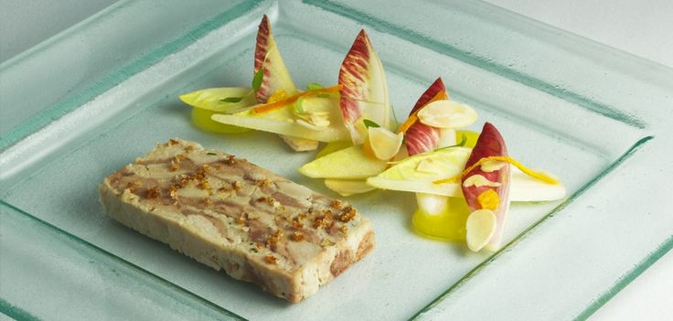 Guinea fowl and parsley terrine, orange, chicory, almonds at the Vineyard Hotel