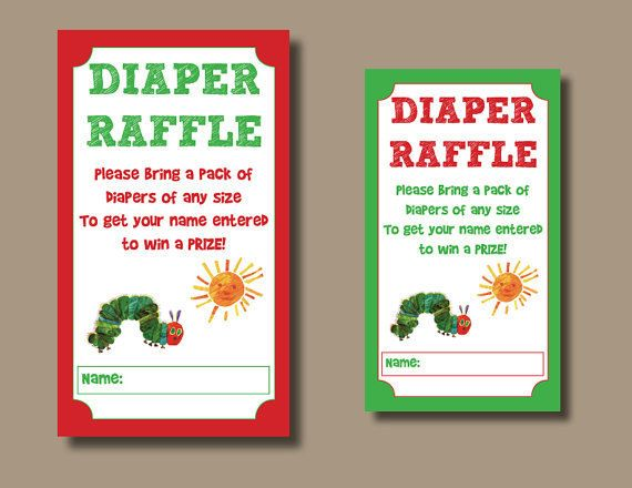 INSTANT DOWNLOAD Printable Eric Carle Inspired Very Hungry Caterpillar Baby Shower Diaper Raffle Tickets