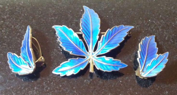 Sterling Silver Bernard Meldahl Blue Enamel Maple Leaf Brooch & Earrings Norway