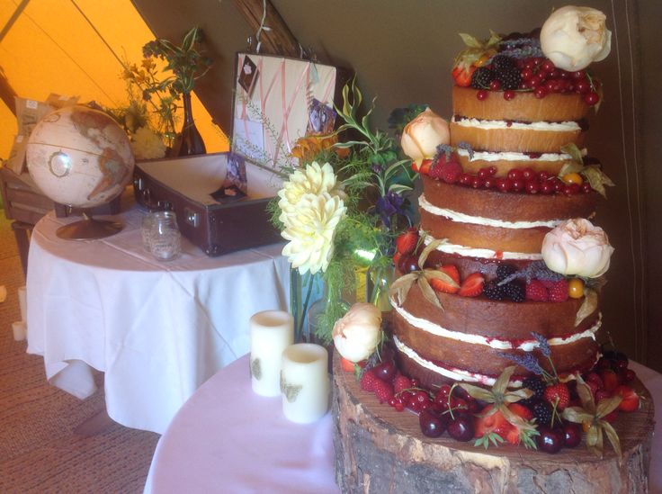 Large three tier naked cake