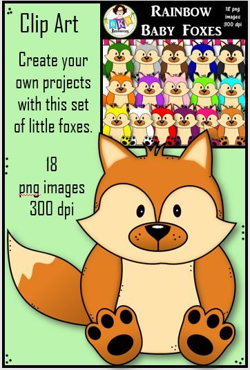 Clip Art - Rainbow Foxes - 18 high resolution images - 16 color images, black line image and shadow image included. CLICK NOW to view or PIN for later.