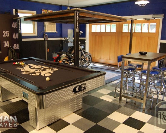 cool man cave furniture. Great Man Cave/garage Space! Like The Aluminum Chairs, Silver And Black. Cool Cave Furniture
