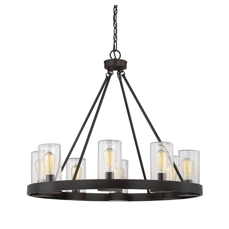 """#DallasLandscapeLighting installs #outdoorlighting from Shades of Light. Round #Industrial 8-light #Chandelier . The lights are on full display, but protected by clear cylindrical shades. 13 lbs, 27.6""""H x 32""""W. 8x60 watts sockets. Damp area rated. http://www.dallaslandscapelighting.net/ #Dallas #LandscapeLighting #outdoorlighting"""