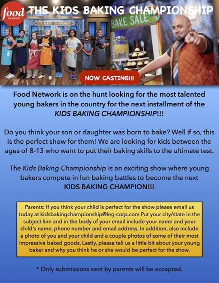 Food Network is Casting kids ages 8-13 for  Season 2 of Kids Baking Championship!