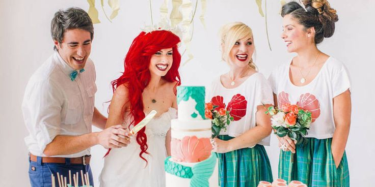 This Little Mermaid Fantasy Wedding Is Like Whoa - Cosmo Look at those cute Bridesmaids dresses... :-P