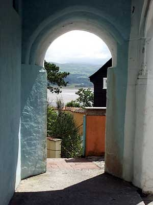 """""""Archways abound, giving glimpses of Tremadog Bay"""" Portmeirion  location for 'The Prisoner'"""