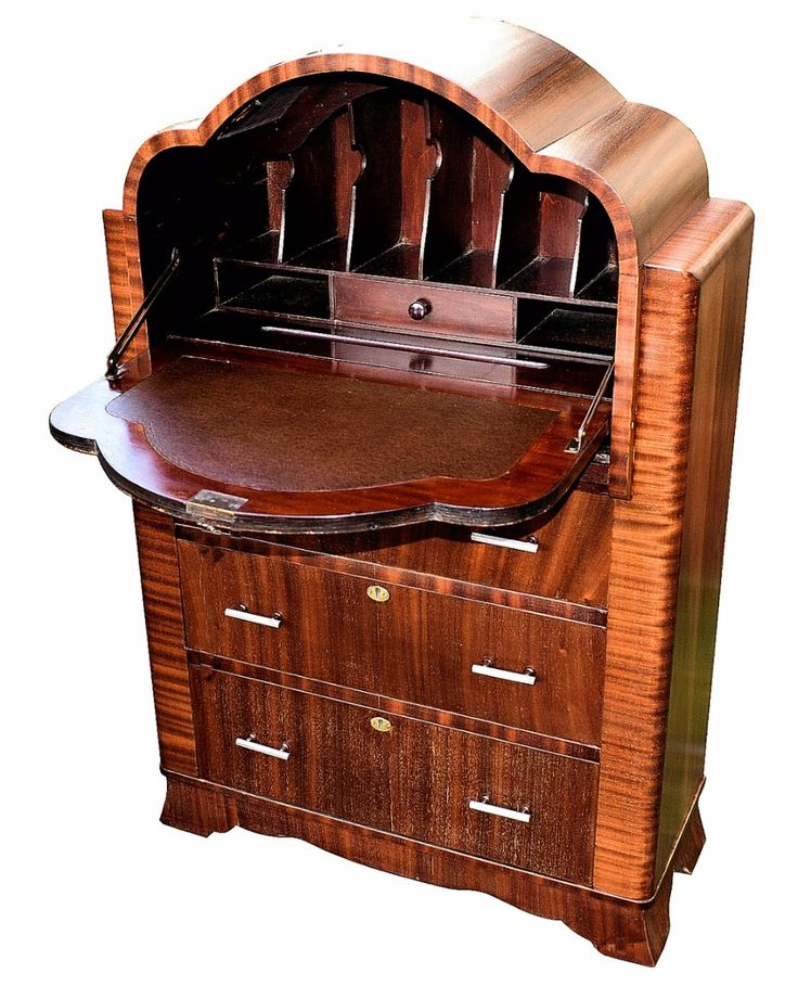 For sale on this is a fantastic art deco bureau of small proportions a really superb piece of furniture veneered in a lovely mahogany flame grain with