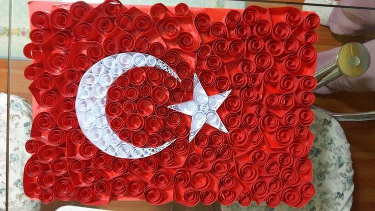 Qilling Türk Bayrağı Quling Türk Bayrağı kağıt katlama