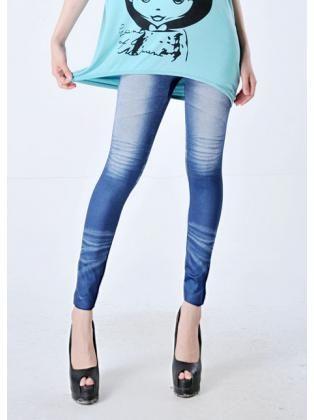 Denim Leggings with Star Details