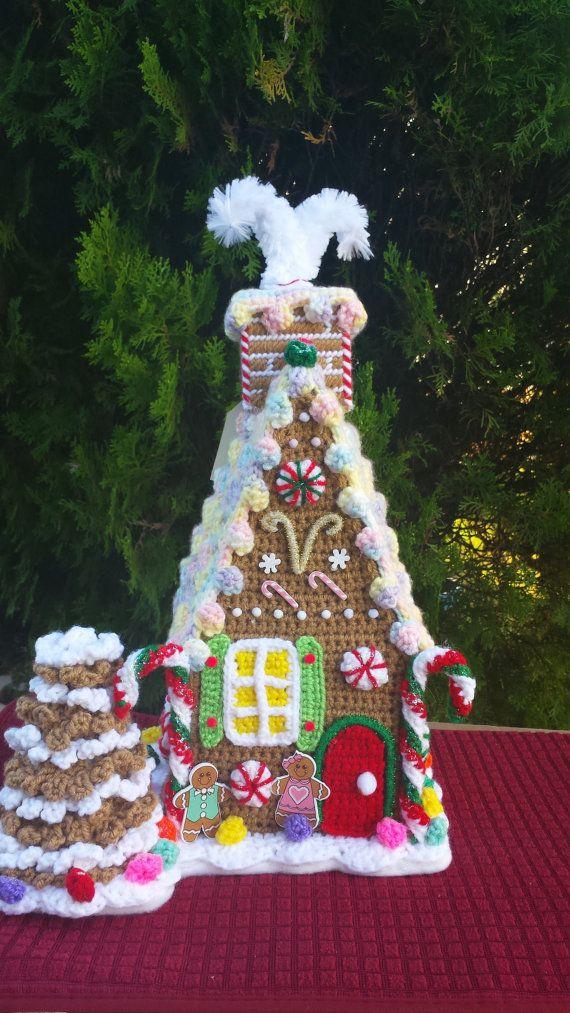 GINGERBREAD HOUSE  OOAK  Large handmade crochet by emcrafts