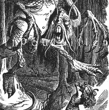 1983 John Tenniel Fairy Tale Engraved Litho For Alice in Wonderland ~ Beware the Jabberwock by PetitPoulailler for $14.85