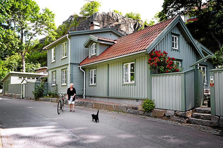 Tre små gröna hus ligger bakom ett grönt plank mittemot kyrkogården och med ett mäktigt berg bakom.