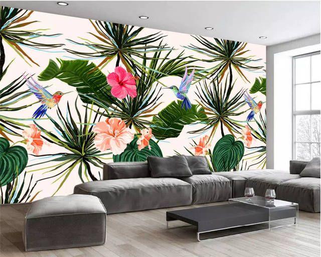 Online Shop Beibehang Custom Modern Wallpaper Background Wall Mural Silk Hand Painted Rainforest Banana Leaf Flower Bi Modern Wallpaper Wall Murals Flower Bird Buy wallpaper online cheap
