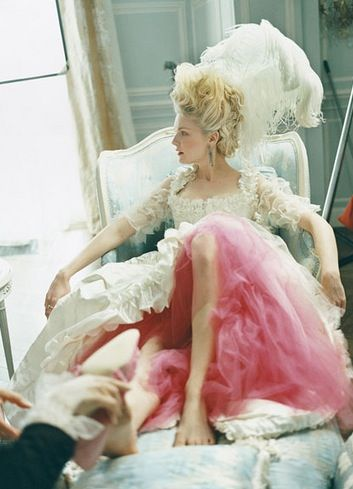 I was very inspired by Sofia Coppola's movie Marie Antoinette. The colours, layers, textures and the modern romantic historical vibe.