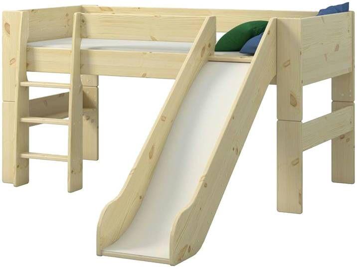 Spielbett Mit Rutsche Holzfarben 206 Cm 113 1 Cm 254 Cm Mobe