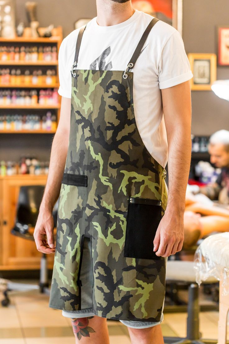 Tattoo Artist Camo Print Apron with Black Leather Straps.