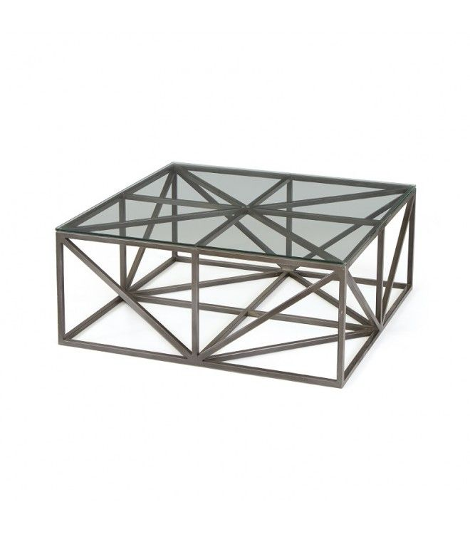 Geometric Iron & Glass Coffee Table