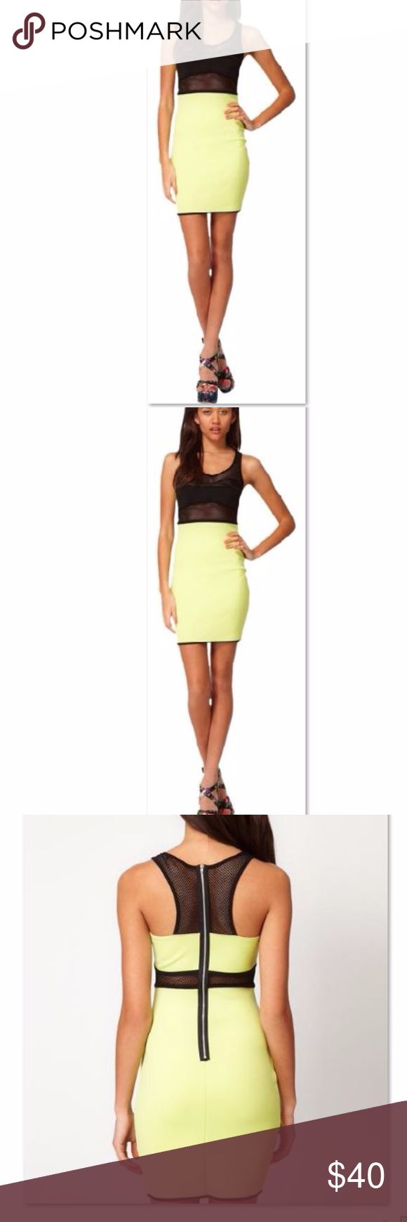 River Island Body-conscious With Mesh Straps Sz 6 Black And lime Green/yellow River Body-conscious With Mesh Straps Us Size 6 Dress River Island Dresses Mini