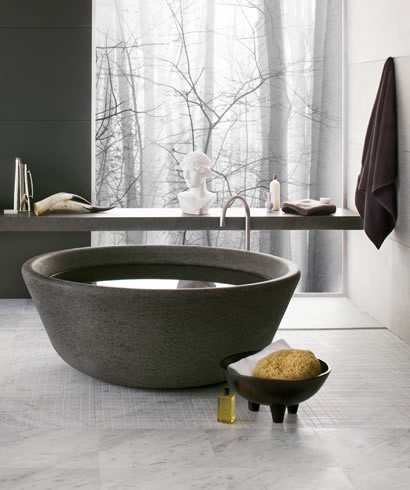 modern stone bathtub ...