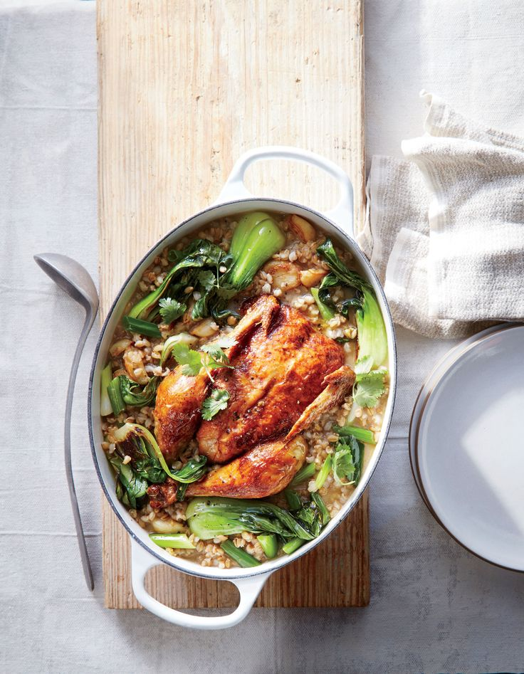 We call for whole-grain hulled, or hull-less, barley here--pearled barley would overcook as the chicken simmers. You can also use unpearled farro or wheat berries.