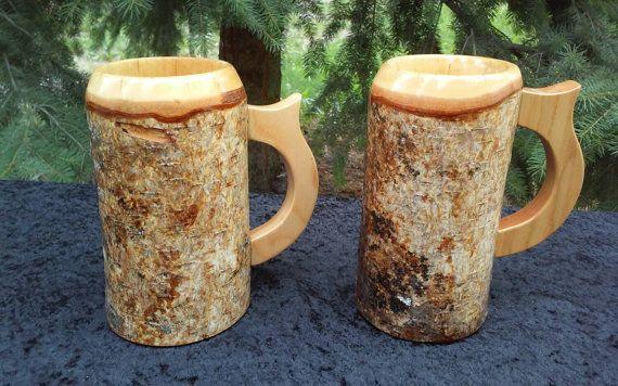 Conjunto de taza de cerveza de madera jarras de cerveza
