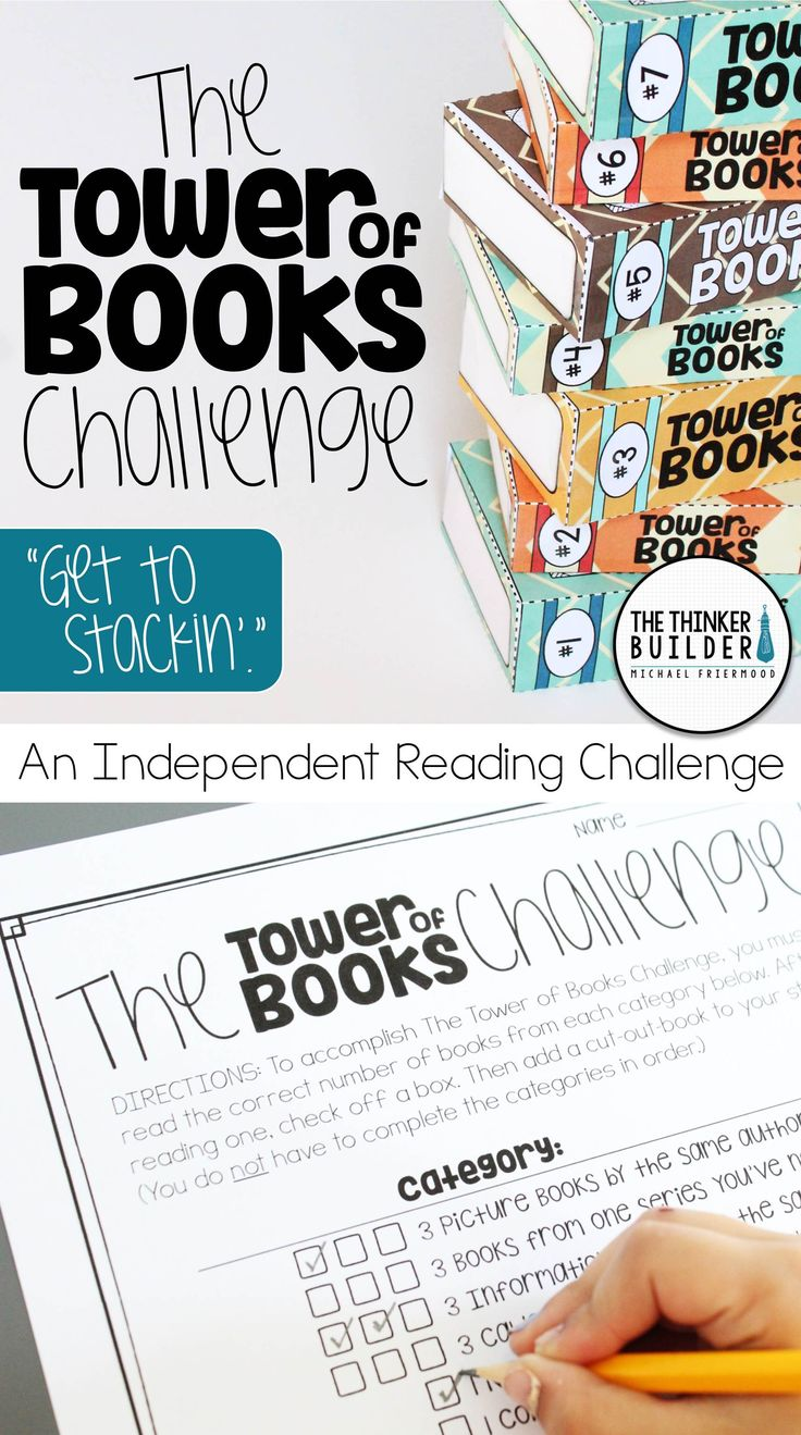 Replace the hum-drum reading log with The Tower of Books Challenge: a fun and engaging independent reading challenge! Encourages a wide range of reading and incorporates motivating tracking methods, in both 3-D (shown) and 2-D options. Lots of reading lists included, as well as an editable component. A unique alternative to regular reading logs! Gr 1-6 ($)