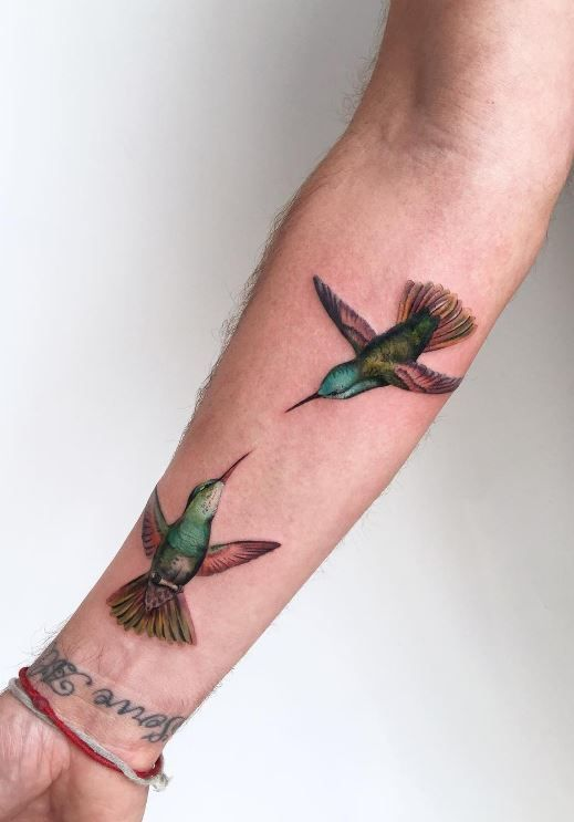 Lovely Hummingbirds Tattoo