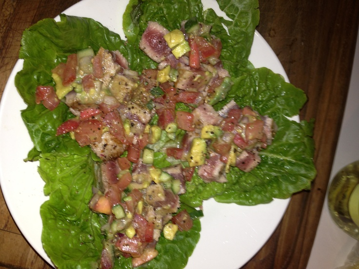 Seared tuna with avocado and tomato salsa lettuce wraps
