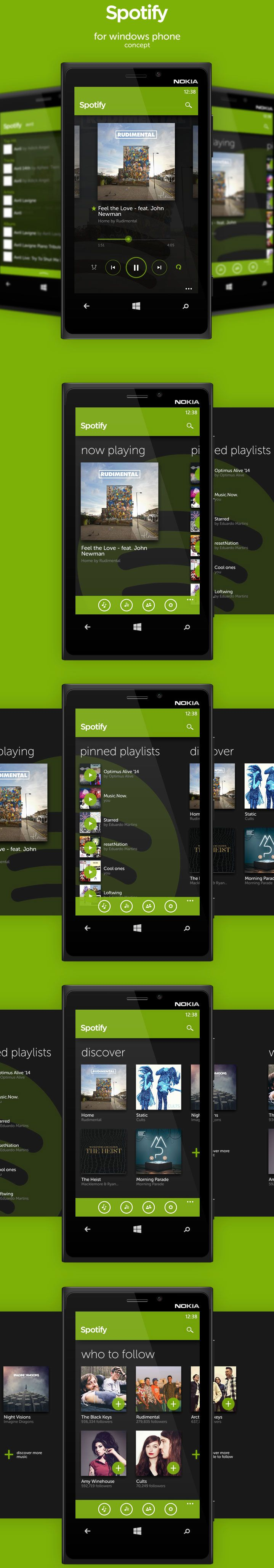 Spotify for Windows Phone (loose ideas) #spotify #audio #player #ui #mobile #smarphone