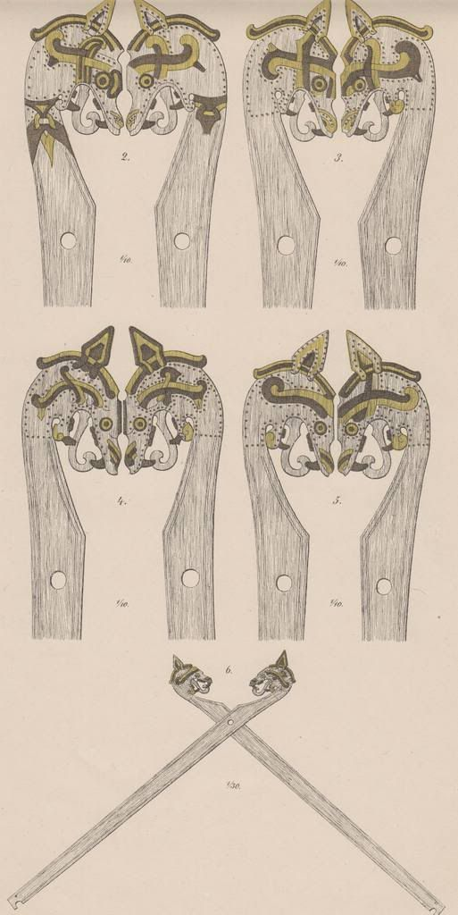 "Gokstad tent pole heads Scanned from ""The Viking-Ship discovered at Gokstad in Norway"" by N. Nicolaysen 1882 (now out of copyright)"
