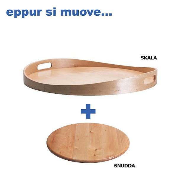 ikea hack: skala and snudda to make large lazy susan for corner cabinet